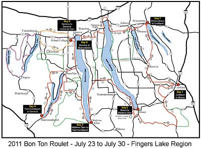The route of the 2011 Bonton Roulet in the Fingers Lake